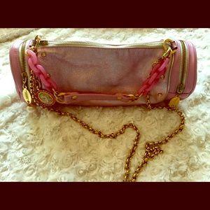 Tarina Tarantino Pink Metallic Barrel Bag